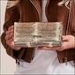 Skórzany portfel damski wzór skóry węża złoty lorenti