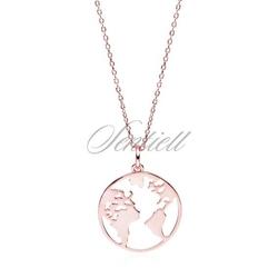 Srebrny pozłacany naszyjnik pr.925 ziemia  świat  glob - różowe złoto - różowe złoto