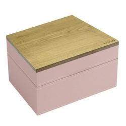 Pudełko na biżuterię podwójne mini wood różowo-szare