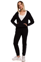 Czarne dresowe spodnie z logowanym lampasem