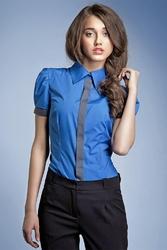 Niebieska wizytowa koszula z krótkim rękawem