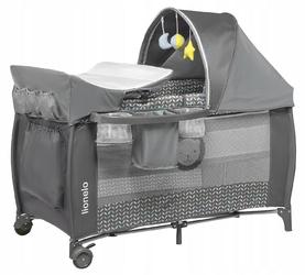 Lionelo sven plus grey scandi łóżeczko turystyczne + przewijak + moskitiera