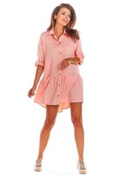 Luźna Koszulowa Różowa Sukienka z Falbanką