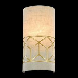 Kinkiet lniany ze złotą, geometryczną ramką messina maytoni classic h223-wl-01-g