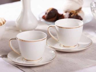 Filiżanki do kawy i herbaty ze spodkami porcelanowe mariapaula nova ecru złota linia 250 ml  15 cm 2 filiżanki  opakowanie prezentowe