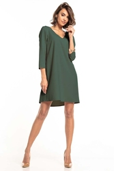 Luźna mini sukienka z kontrafałdą na plecach - khaki