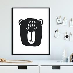 Scandi bear - plakat dla dzieci , wymiary - 30cm x 40cm, kolor ramki - biały