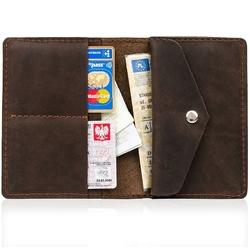 Skórzany cienki portfel slim wallet z miejscem na monety brodrene sw08 ciemnobrązowy - c. brązowy