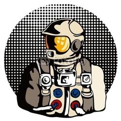 Obraz na płótnie canvas astronauta z kropkami półtonów