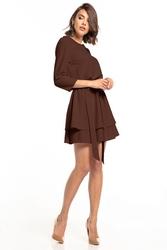 Sukienka z podwójna spódnicą  t320 brązowy