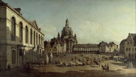 Reprodukcja view of the neumarkt in dresden from the jüdenhofe, canaletto, bernardo bellotto