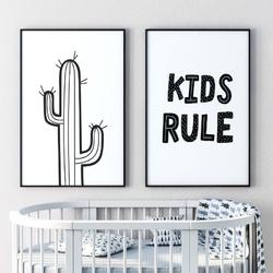 Zestaw plakatów dziecięcych - kids rule , wymiary - 60cm x 90cm 2 sztuki, kolor ramki - biały