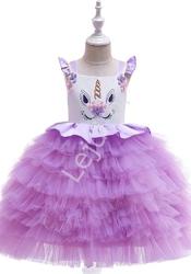 Fioletowa sukienka dla dziewczynki z jednorożcem