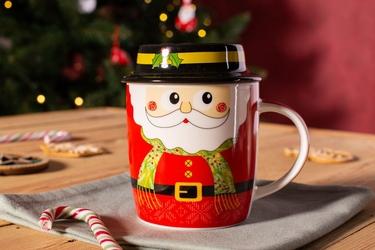 Kubek porcelanowy świąteczny dla dzieci  na prezent altom design mikołaj w szaliku z pokrywką 330 ml