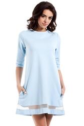 Błękitna rozkloszowana sukienka z przezroczystym paskiem