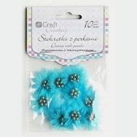 Stokrotki materiałowe z perełkami 10 szt. - turkus - TUR