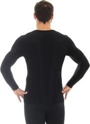 Brubeck ls11600 koszulka męska długi rękaw comfort wool czarny
