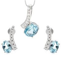 Nina komplet srebrnej biżuterii blue topaz kolczyki naszyjnik