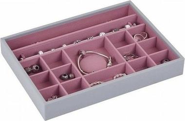 Pudełko na biżuterię 16 komorowe classic Stackers różowo-szare