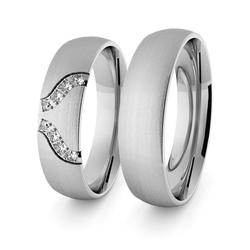 Obrączki ślubne klasyczne z białego złota niklowego 5 mm z brylantami - 35