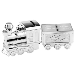 Posrebrzana skarbonka szkatułka puzderko lokomotywa z wagonem pamiątka chrztu na chrzest z grawerem - skarbonki