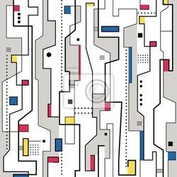Fototapeta czerwony żółty niebieski i szary abstrakcyjny wzór