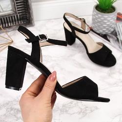 Sandały damskie na słupku czarne filippo - czarny