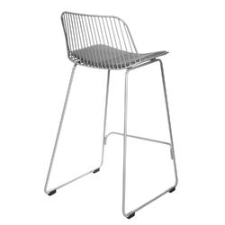 Krzesło barowe dill low szare z szarą poduszką - 66  szary