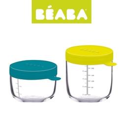 Beaba zestaw pojemników słoiczków szklanych z hermetycznym zamknięciem 150 + 250 ml blue i neon