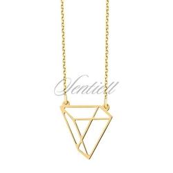 Srebrny naszyjnik pr.925 - origami trójkąt, pozłacany - żółte złoto