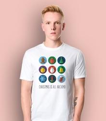 Christmas is all around t-shirt męski biały l