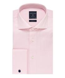 Elegancka różowa koszula męska taliowana, slim fit z mankietami na spinki 44
