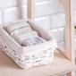 Koszyk  kosz wiklinowy do organizacji  przechowywania altom design biały z pomponami 24 cm