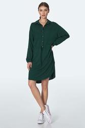 Koszulowa sukienka z troczkami w pasie - zielona