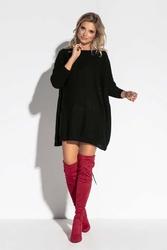 Czarna oversizowa tunika swetrowa z kieszeniami