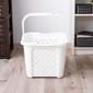 Kosz  pojemnik do przechowywania i na pranie kwadratowy plastikowy z rączką arianna 25 l biały