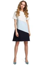 Biało błękitna szara dziewczęca trapezowa sukienka z przodem w pasy