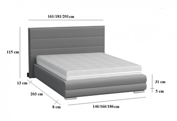 Łóżko tapicerowane tomano ii 140x200