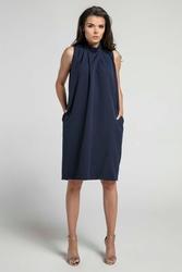Granatowa nowoczesna luźna sukienka bez rękawów ze stójką