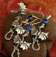Dragon - srebrny komplet smoki z szafirem