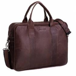 Skórzana męska torba na ramię ciemny brąz bl01