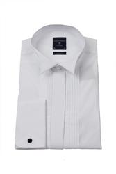Biała koszula męska smokingowa z łamanym kołnierzykiem, krytą listwą i plisami slim fit 40