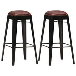 Vidaxl stołki barowe, 2 szt., czarne, skóra naturalna