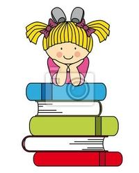 Naklejka dziewczynka z wielu książek. zabawa ilustracji powrót do szkoły