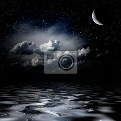 Obraz stars nocne niebo odbijające się w morzu