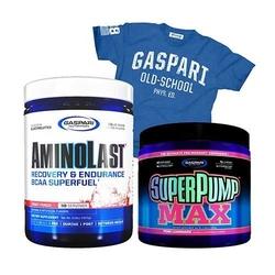 Gaspari nutrition aminolast 420 g + super pump max 480 g + t-shirt old school gratis