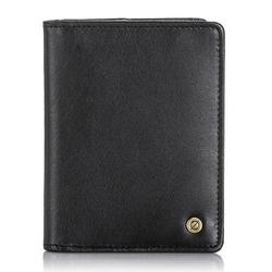 Skórzany cienki portfel męski z ochroną rfid brodrene 5576 czarny - czarny