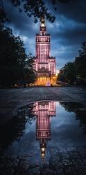 Warszawa mroczny pałac kultury - plakat premium wymiar do wyboru: 42x59,4 cm