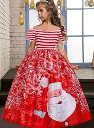 Czerwona sukienka dla dziewczynki z świętym mikołajem 056