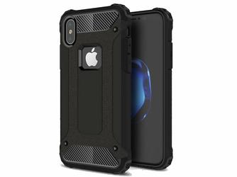 Etui Pancerne Alogy Apple iPhone X Xs Hard Armor Czarne + Szkło - Czarny